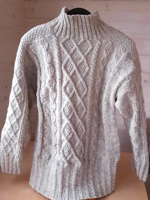 Traditional Aran Pullover. Handknit with Irish natural grey wool