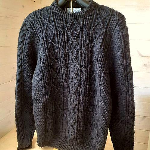 Black Aran sweater. Hand knit with Irish wool.