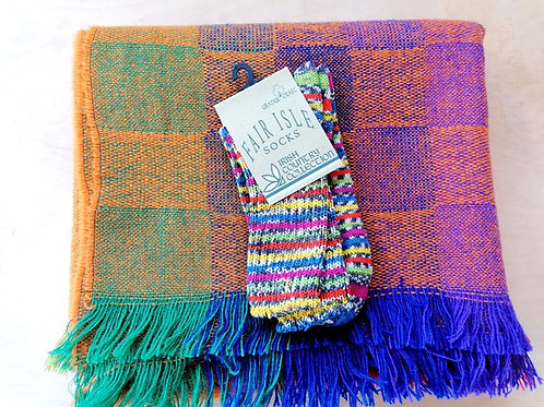 Cleo Small Throw and 1 pair of Fair Isle socks bundle