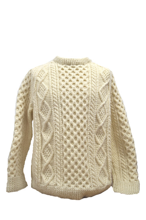 Natural white traditional Aran sweater. Hand knit with Irish wool.