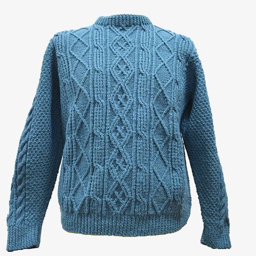 Blue Aran sweater. Hand knit with Irish wool.