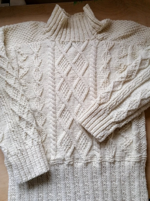 Aran hand knit sweater - Skellig pullover
