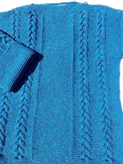 Blue Aran sweater. Hand knit with Irish wool.