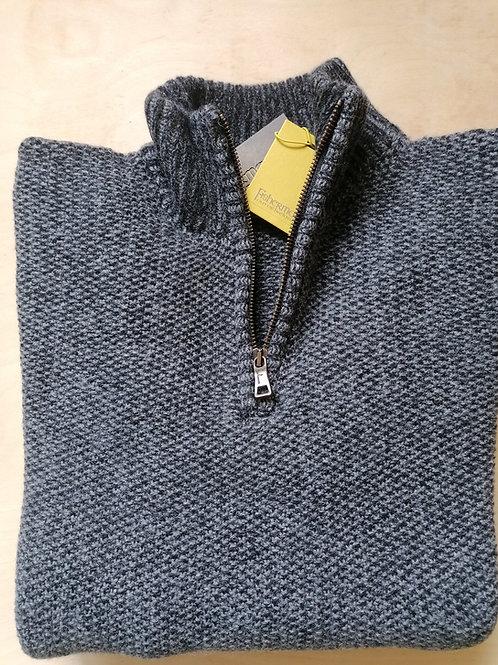 Fisherman Out of Ireland Seed Stitch Zip Neck Sweater