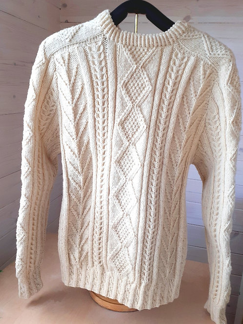 Traditional Aran Pullover. Handknit with Irish natural white wool