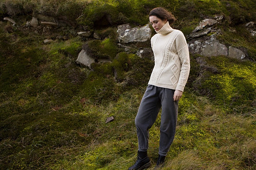 Fisherman Out of Ireland - Aran V Cable Mock Turtle neck Sweater