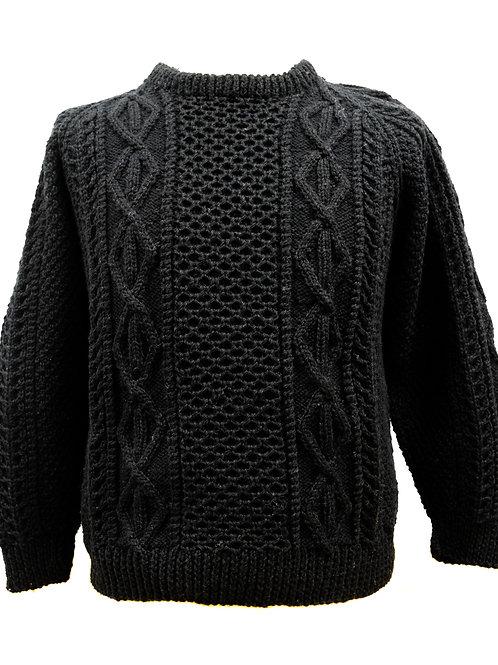 Black traditional Aransweater sweater. Hand knit with Irish wool.