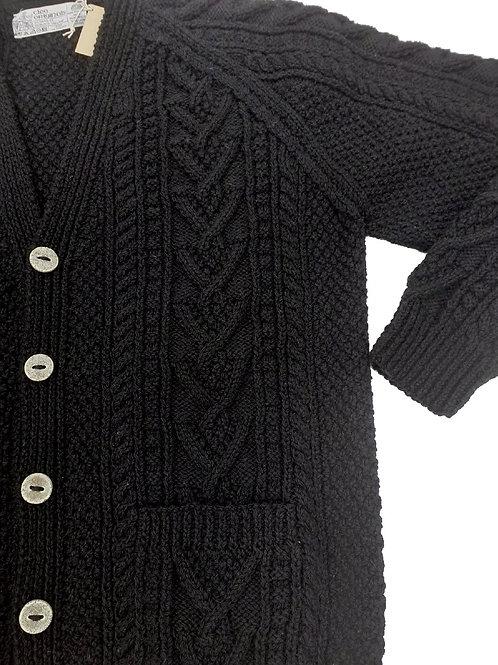 Black woman's Aran cardigan. Hand knit with authentic Irish wool