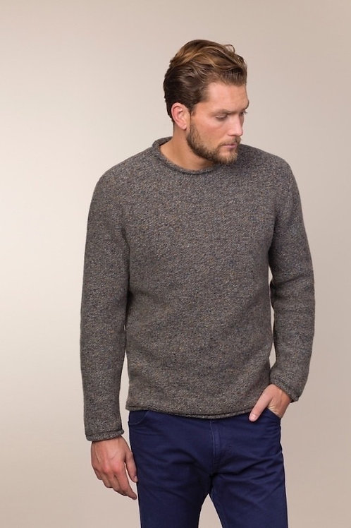 Fisherman Out of Ireland Links Links Stitch Crew Neck with Rolled Edges