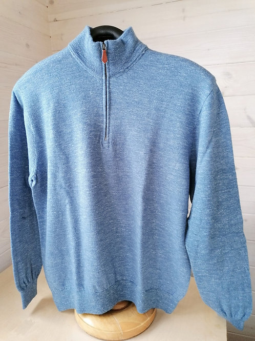 Inis Meáin Zip Neck Wool and Silk