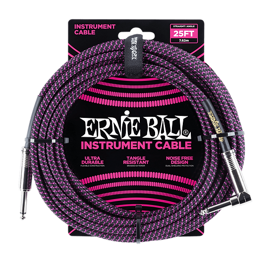 ERNIE BALL 25' BRAIDED STRAIGHT / ANGLE INSTRUMENT CABLE - BLACK / PURPLE