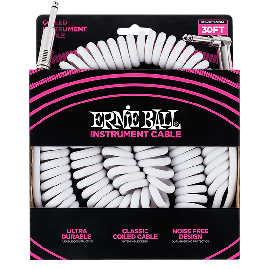 ERNIE BALL      30' COILED STRAIGHT / ANGLE INSTRUMENT CABLE - WHITE