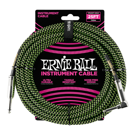 ERNIE BALL 25' BRAIDED STRAIGHT / ANGLE INSTRUMENT CABLE - BLACK / GREEN