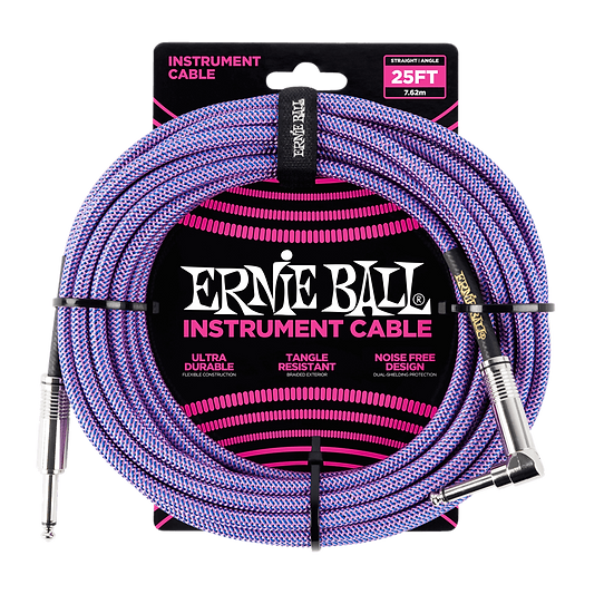 ERNIE BALL 25' BRAIDED STRAIGHT / ANGLE INSTRUMENT CABLE - PURPLE