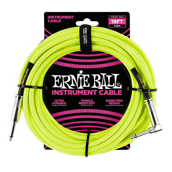 ERNIE BALL 18' BRAIDED STRAIGHT / ANGLE INSTRUMENT CABLE - NEON YELLOW