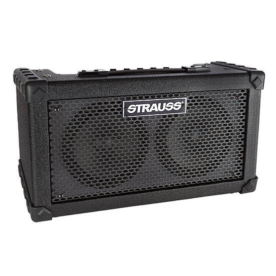 STRAUSS SBSK-F10 'BUSKER' STEREO 20 WATT SOLID STATE RECHARGEABLE DC AMPLIFIER (