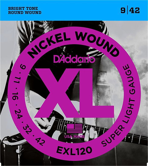D'ADDARIO EXL120 SUPER LIGHT 9/42 ELECTRIC STRINGS