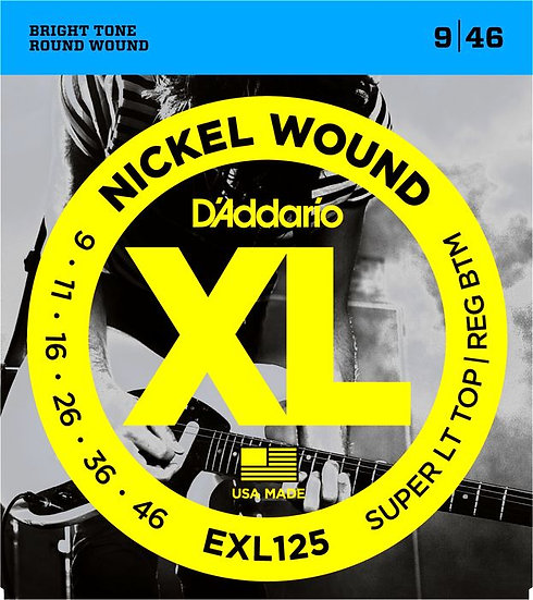 D'ADDARIO EXL125 LIGHT TOP/REG BOTTOM 9/46 ELECTRIC STRINGS
