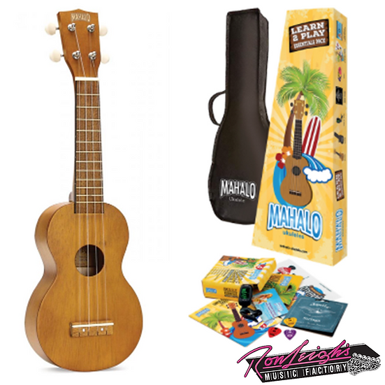 MAHALO MK1TBRK KAHIKO SERIES SOPRANO UKULELE PACK WITH ESSENTIAL ACCESSORIES