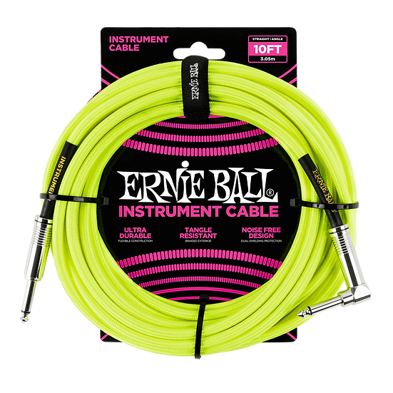 ERNIE BALL 10' BRAIDED STRAIGHT / ANGLE INSTRUMENT CABLE - NEON YELLOW