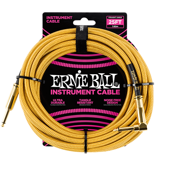 ERNIE BALL 25' BRAIDED STRAIGHT / ANGLE INSTRUMENT CABLE - GOLD
