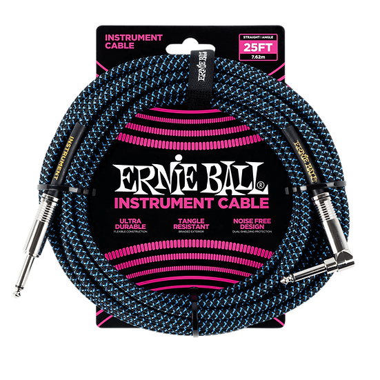 ERNIE BALL 25' BRAIDED STRAIGHT / ANGLE INSTRUMENT CABLE - BLACK / BLUE