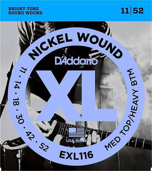 D'ADDARIO EXL116 MEDUIM TOP/HVY BOTTOM 11/52 ELECTRIC STRINGS