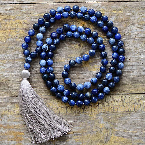 Natural Faceted Sodalite 108 Beads Mala Necklace
