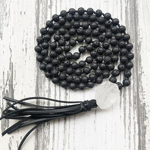 Raw Quartz & Black Lava Stone, Hand Knotted, 108  Bead Mala with Leather Tassel