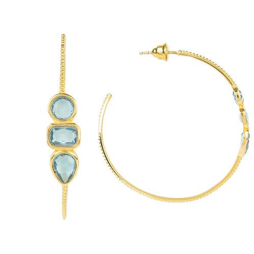 Venice Gemstone Hoop Earring /Gold /Blue Topaz