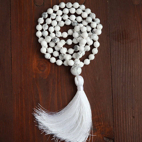 Natural Stone White Howlite, 108 Bead, Hand Knotted Mala Necklace