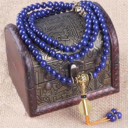 Lapis Lazuli, 108 Bead Mala, Tibetan Prayer Beads