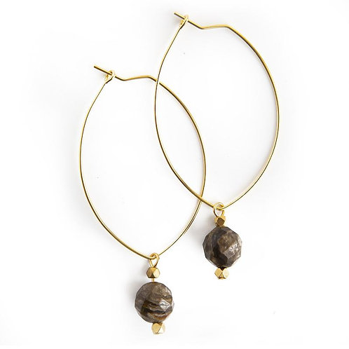 Lenny Gemstone Earrings-Silver Leaf Jasper