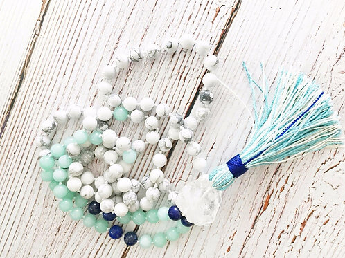 White Howlite, Hand Knotted,108 Mala Bead Necklaces