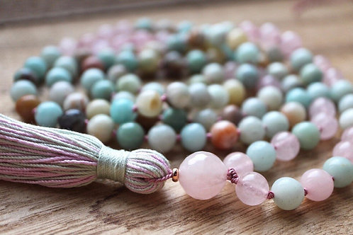 Rose Quartz and Amazonite 108 Mala Bead Necklace & Bracelet
