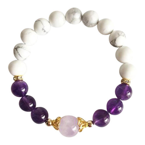 Amethyst, Cape Amethyst and White Howlite Gold Filled Bracelet