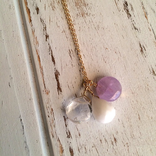 Cape Amethyst, Crystal Quartz & Snow Quartz Sterling Silver Necklace