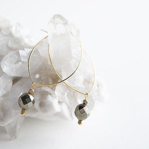 Lenny Gemstone Earrings-Pyrite