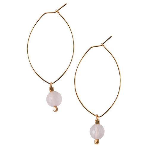 Lenny Gemstone Earrings- Rose Quartz