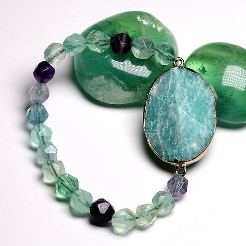 Fluorite Bead & Amazonite Natural Stone Pendant Bracelet