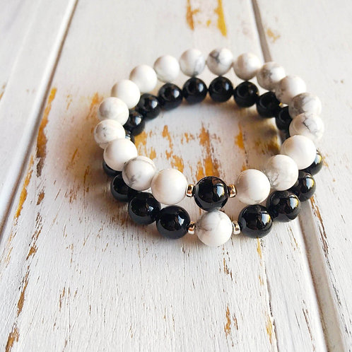 White Howlite  & Black Onyx  Couples Bracelet Set