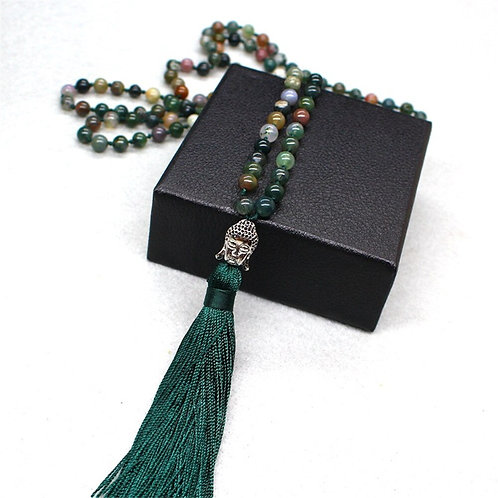 Genuine India Onyx with Buddha Head Charm 108 Mala Hand Knotted Necklace