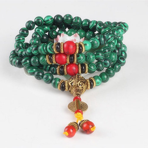 Malachite 8mm 108 Bead Tibetan Prayer  Meditation Bracelet