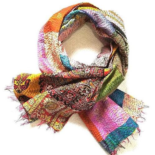 Gratitude Silk Saree Scarf - Hand Stitched Kantha Upcycled