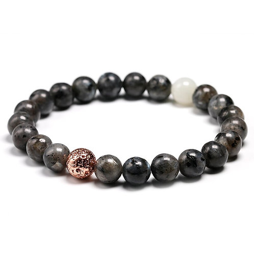 Labradorite With White Moonlight and Lava Bead Natural Stone Bracelet