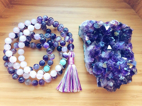 Purple Quartz and Rose Quartz, 108 Bead Mala,  with Tassel