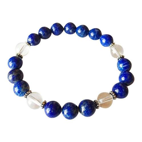 Lapis Lazuli & Crystal Quartz Sterling Silver Bracelet