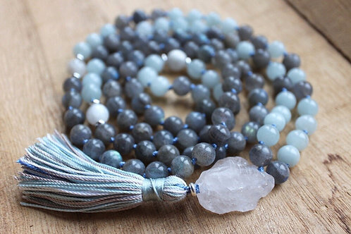 Natural Labradorite, Hand Knotted, 108 Mala Bead Necklace
