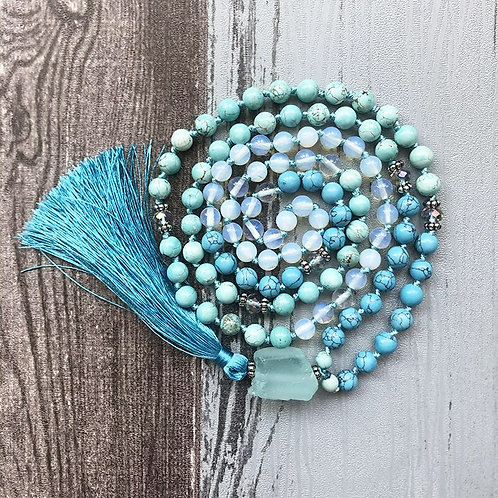 Raw Quartz,  Moonstone & Turquoise, 108 Bead, Hand Knotted Mala  Necklace