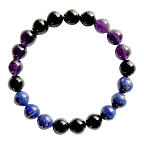 Amethyst, Black Tourmaline & Lapis Lazuli Sterling Silver Bracelet